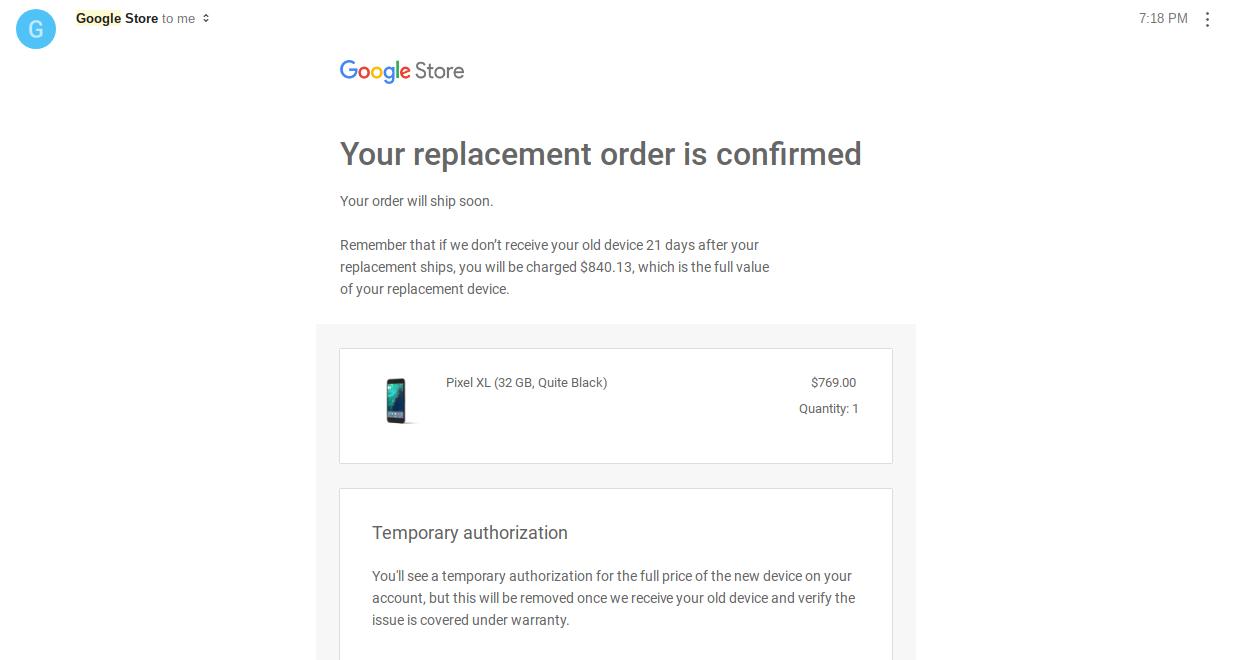 Nexus 6P replaced